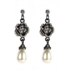 Diamante Flower Pearl Drop Earrings by luxefashionjewellery.com