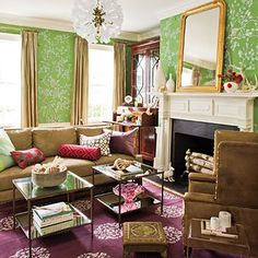 Madelein Weinrib rug + Green Gracie/DeGournay(?) paper -- the most livable room I've ever seen with this paper.