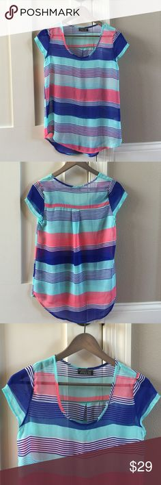 Papermoon Stitch Fix hi low striped blouse Papermoon Stitch Fix hi low striped blouse.  Perfect weight blouse for Summer.  Would pair well with shorts or capris.  Comes from smoke free and pet free home. Papermoon Stitch Fix Tops Blouses