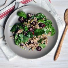 Farro and Cherry Salad with Champagne Vinaigrette Recipe Salads with farro, cherries, basil leaves, extra-virgin olive oil, champagne vinegar, salt, pepper, pistachios, baby spinach