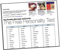 Gary Smalley's Free Personality Test, can also do a couple personality test with the book