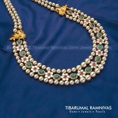 – Nakshi Peacock Side Piece Necklace Studded with Flat Diamonds, Rubies and Emeralds – Tibarumal Ramnivas Gems Jewels and Pearls Gold Jewellery Design, Bead Jewellery, Beaded Jewelry, Beaded Necklace, Pearl Jewelry, Diamond Necklaces, Handmade Jewellery, Wedding Jewelry, Antique Jewelry