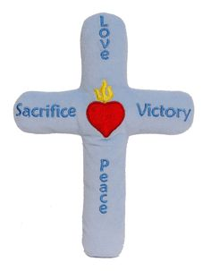 """""""My First Cross"""" Devotional Toy. Provide children with their own cross for play, comfort, devotion and prayer. Designed by www.sacredhearttoys.com  Available in Blue and Pink!"""