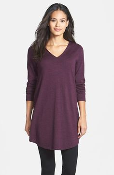 Free shipping and returns on Eileen Fisher Merino Jersey V-Neck Tunic (Regular & Petite) at Nordstrom.com. A soft sweater-knit tunic designed for a relaxed fit is fashioned with a V-neckline and a curved shirttail hem. Style it with tights and boots or pair it with your favorite skinnies for chic comfort.