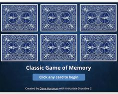 Storyline Classic Memory Game - Build a classic memory game and test learners' ability to match visuals, vocabulary words, or whatever you'd like. Instructional Design, Memory Games, Vocabulary Words, Memories, Templates, Learning, Classic, Cards, Memoirs