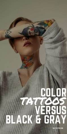 Color Tattoos Versus Black and Gray | Body Art - Are you thinking about getting some new ink, but are weighing your options between classic black and gray and colorful tattoo designs? Click here for the pros and cons of color tattoos and black and gray tattoos. Self Tattoo | Color Tattoo | Black And Gray Tattoo Design | Tattoo Designs | Tattoo Ideas | Tattoos For Women | Tattoos For Men | Tattoos With Color Men Tattoos, Unique Tattoos, Sleeve Tattoos, Tattoos For Guys, Tattoos For Women, Watercolor Tattoo Feather, Feather Tattoos, Beginner Tattoos, Gray Tattoo