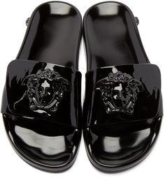 Versace - Black Patent Medusa Slide