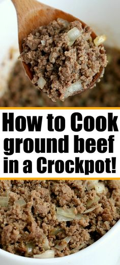 Crockpot ground beef instructions are here. Want to know how to cook hamburger in a slow cooker, it's possible! Then use it as an ingredient in your recipe. #crockpotgroundbeef #crockpotrecipes #groundbeef #hamburger