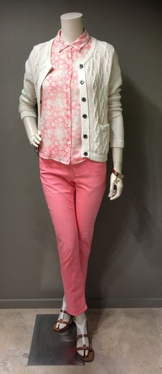 Soft prints, colours & textures combine for a Weekend MaxMara casual day wear look. Weekend collection cream cotton cable knit cardigan | Weekend collection pastel floral cotton & silk blend short sleeve blouse | Weekend collection stretch cotton pastel pink skinny jeans | MaxMara white patent leather and tan leather sandals | MaxMara gold tone bangle set with logo charm.  Prices on request