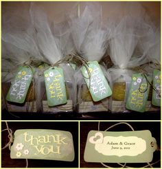 bridal shower favors handmade thank you tags with hemp on tulle wrapped candles my momma and i made these for my cousins bridal shower
