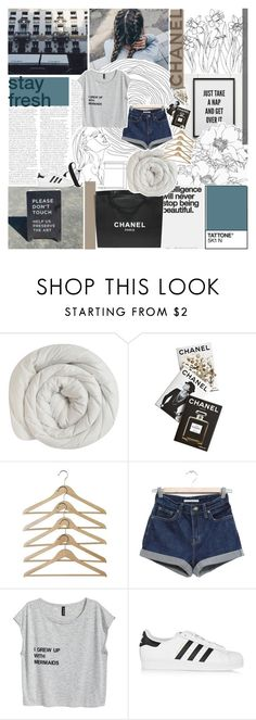 """all fall down"" by undercover-martyn ❤ liked on Polyvore featuring Chanel, Assouline Publishing, La Femme and adidas Originals"