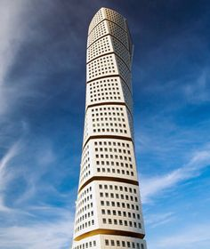 Turning Torso, Malms, Sweden. Santiago Calatrava's 2005 twisting steel structure—consisting of nine cubes that rotate 90 degrees as they rise from bottom to top—is the second highest residential building in Europe.