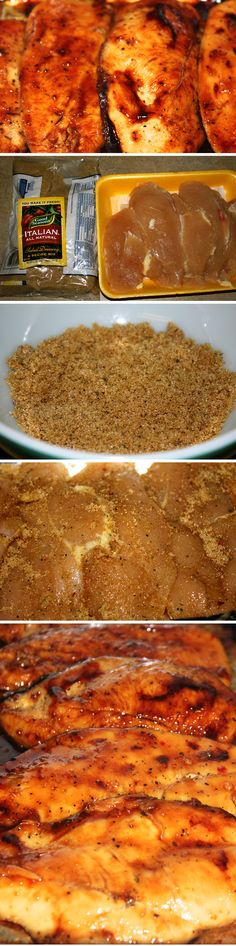 Caramelized Italian Chicken: 2-3 lbs Chicken Breast, 1 packet (0.7 ounce) of dried italian dressing mix, 1/2 cup packed brown sugar. Mix the dressing mix and brown sugar, then coat chicken breasts. Layer in a 13x9 foil lined pan, top with remaining mix if desired, then bake at 350* for 20-25 min on each side.