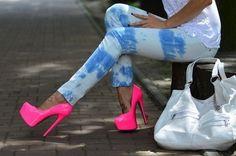 On Wednesdays we wear Pink…shoes lol Stilettos, Pumps Heels, Neon Pumps, Stiletto Heels, Strappy Heels, Hot Pink Heels, Pink Shoes, Neon Shoes, Bright Shoes