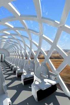The Rapid One concept train opens the outside world to passengers through its unique structure and interior design. With lightweight composites and new architecture, Rapid One can be more efficient and beautiful than conventional rail cars. Futuristic Interior, Futuristic City, Futuristic Architecture, Architecture Design, Airplane Interior, Sustainable Transport, House Design Pictures, Future Transportation, Dream City