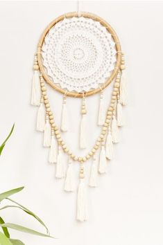 Crochet and Wooden Bead Rattan Wall Hanging - Earthbound Trading Co.