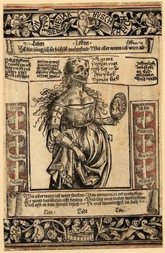 """A German hand-coloured woodcut, c.1500; a memento mori as New Year greeting (""""EIN GVT SELIG NEV IAR BVSCH ICH EVCH""""); in the centre of the print is a woman with a skull for a face looking in a mirror, the legend says 'I am young and lovely, but when I become old...' 'time brings all things'. (British Museum)"""