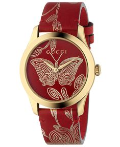 Redirecting you to Neiman Marcus for Gucci G-Timeless Embroidered Butterfly Watch w/ Leather Strap. Gucci Jewelry, Red Jewelry, Metal Jewelry, Jewelry Watches, Women's Watches, Jewellery, Analog Watches, Golden Jewelry, Yoga Jewelry