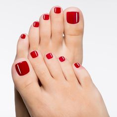 Beautiful female feet with red pedicure - Stock Photo , Pretty Toe Nails, Cute Toe Nails, Cute Toes, Pretty Toes, Ongles Gel French, Red Toenails, Gel Toes, Painted Toes, Feet Nails