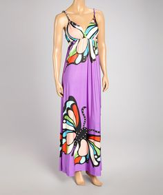 Take a look at the Purple Butterfly Maxi Dress - Women on #zulily today!