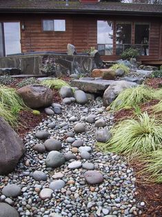 Landscaping A Dry River Bed Design, Pictures, Remodel, Decor and Ideas - page 8 Dry Riverbed Landscaping, River Rock Landscaping, Landscaping With Rocks, Front Yard Landscaping, Acreage Landscaping, Landscape Plans, Landscape Design, Contemporary Landscape, Stream Bed