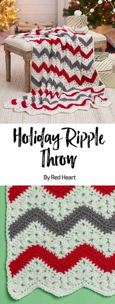 Holiday Ripple Throw free crochet pattern in With Love yarn. Ripples have a totally timeless appeal, adding a wow factor to modern or more traditional décor. Combine red with grey for a color scheme that works for the holidays and beyond
