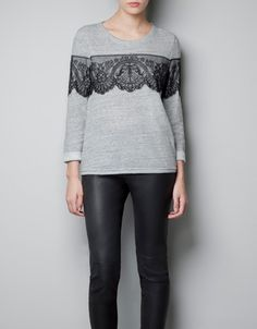 VELOUR T-SHIRT WITH LACE DETAIL - T-shirts - Woman - ZARA United States