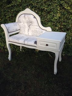 Upcycled Shabby Chic Telephone Seat.. One more coat of AS Old white and wax and she's complete! Yay!!