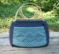Macrame Bag with Bamboo Handles Navy and Light Blue Large