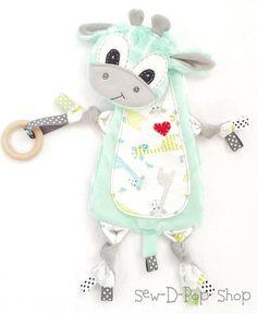 Giraffe Mini Lovey Neutral Baby Decke Bio Holz Beißring Buddy