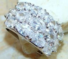 """Fire, Sparkle, Like Diamonds, WOW! This Ring Is  Estimated To Be At Least 3 Carats Of Genuine White Topaz (Diamond Like Sparkle & Perfect Clarity). This Ring Is Crafted In Solid Sterling Silver & Is An Incredible Heirloom Ring. MSRP: $389.99 - All I Can Say Is """"WOW, AMAZING!!"""""""