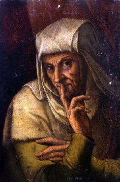 """Leonardo da Vinci as Vertumnus in the disguise of an old woman; the painting was called """"Keep it Silent"""". Paintings in the Renaissance held a surface meaning and another meaning. This paintings eludes to the fact that the story of the silk merchant's wife was purposefully fabricated to hide a greater secret. To find out see what the secret was, see: http://www.kleio.org/en/history/leonardo/newportrait.html"""