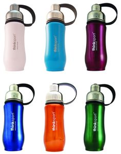 Thinksport Insulated Sports Bottle. We love this company and their double-walled stainless steel water bottle. Ranked as one of our best water bottles for kids (and grown-ups too!)