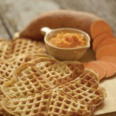 sweet-potato-waffles - swap sweet potato out for pumpkin and add pie spice - Breakfast Waffles, Breakfast Recipes, Pancakes, Norwegian Waffles, Sweet Potato Waffles, Gluten Free Waffles, Waffle Mix, Something Sweet, Picky Eaters