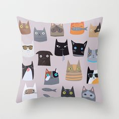Cats comunity Throw Pillow by Darish - $20.00