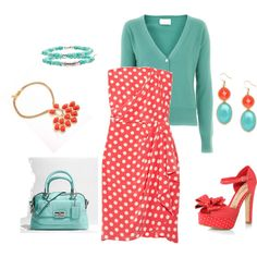 """""""Love These Colors Together!"""" by lislyn on Polyvore I am a sucker for polka dots!"""
