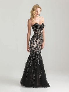 Night Moves Prom or Pageant Dress in Black Nude #formalapproach