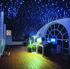 Starry ceiling using fiberoptics.  I have always wanted to do this if I have a little boy!