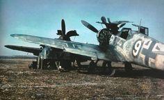 Photo: Service of German fighter Messerschmitt Bf.  109G-2 in Slavic airport