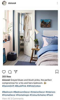 Bedroom Wall, Bedroom Decor, Denim Drift, Wall Colors, Blue Denim, Blush Pink, Blue Grey, Interior Decorating, Colour