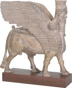 Assyrian Winged Human Headed Bull Lamassu Statue 8.5H