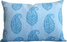 Kashmir Blue/Blue-High End Designer Decorative Pillow Cover-Peter Dunham-Block Print-Accent Pillow-Sofa Pillow-Single Sided by KLineDeco on Etsy https://www.etsy.com/listing/516075377/kashmir-blueblue-high-end-designer