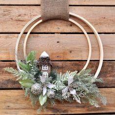 Woodland Holiday Embroidery Hoop Wreath madeinaday.com