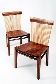 Dining Chairs by Nathan Boyd Fine Woodworking - love the buildup of many small member to effectively make a laminated back while still allowing airflow