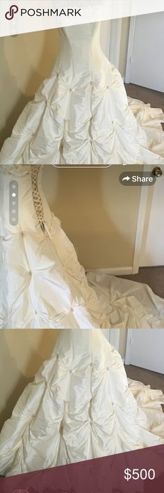 Designer Couture White Princess Wedding Dress Gown EUC. Never used ! Only ever tried on! I decided to go w another style of wedding. This is such a beautiful dress! It has little Rhinestones & pearls details in the shirt ! It fits true to size and it's extra flattering !! It is a white - off white color it's just stunning. Dress is by Maggie sottero Couture. Has been stored in climate control room in sealed bag. I have the paper work. I paid 2500 for it. I'll toss in a matching crown. maggie…