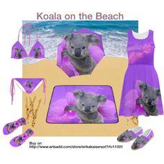 Koala  beach mat, bikini, summer dress, umbrella FREE Shipping. FREE Returns. Buy on http://www.artsadd.com/store/erikakaisersot?rf=11001 Flip flops buy on http://www.zazzle.com/erikakai*