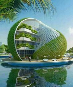 """30 Amazing Green Building Architecture Design Ideas - The latest trend in new home construction is """"green building"""". Most people equate green building with efficient or renewable materials. Concept Architecture, Futuristic Architecture, Sustainable Architecture, Beautiful Architecture, Architecture Design, Building Architecture, Architecture Sketchbook, Pavilion Architecture, Victorian Architecture"""