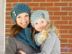 f47c5b28d69d55 Mother's Day Gift! Mom and Me Knit Slouch Beanie and Button Cowl Set MANY  COLORS