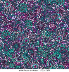 Teal and purple floral seamless pattern.