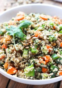 Healthy chopped vegetable salad with fresh crisp vegetables, quinoa and orange vinaigrette. This easy one-dish meal serves as a light lunch or side dish.